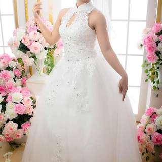 Qipao Cheongsam Chinese Inspired Wedding Gown White Dress Lace