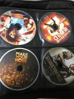 DVD Movies: Street dancing, Step UP Revolution etc.