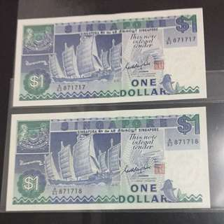 👍 2 Runs Ship Series $1 Notes with Unique Fancy Numbers A/83 871717/871718 in AUNC Condition