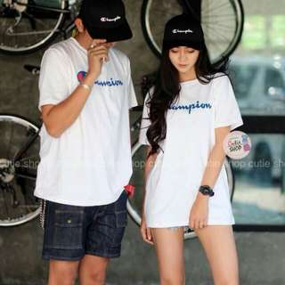Couples t-shirt style champion