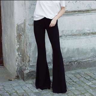 Chanel inspired Made in Italy wool crepe flared trousers by Cristina Effe