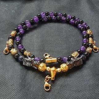 Nice quality Black Shiny Oxny, Amenthy beads with 2 Black Shiny Dragon Heads & 6 Buddha Heads 4 Hooks Necklace
