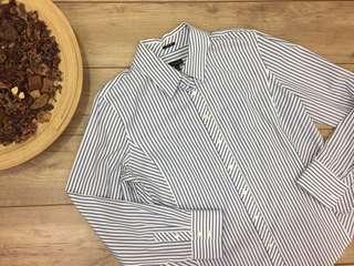 Talbots Blue/White Striped button up collar dress shirt women's size 16