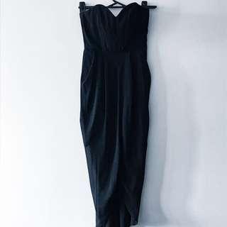 Black strapless midi dress, formal, ball dress, cocktail dress, size 8, by PILGRIM