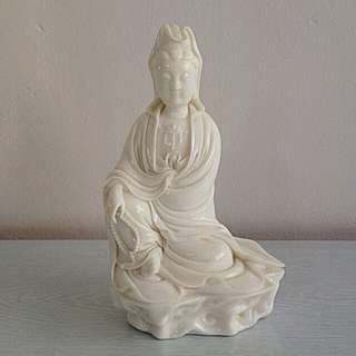 Vintage White Glazed Figure Of Guan Yin sitting on the rock height 21cm perfect condition