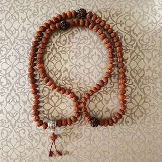 Rudraksha Mala 10 Mukhi, 108 Mala Prayer Beads from Java Indonesia.
