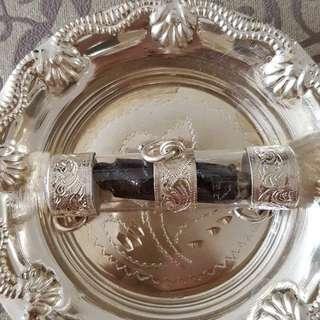 Leklai Takrut from Wat Thamfad in pure silver casing.