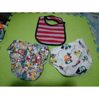 Cloth Diapers with Free Bib