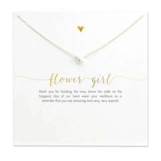 Flower Girl Classic Pearl Of Love Pendant Necklace & Thank You Card
