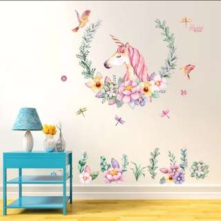 Small fresh creative Unicorn wall art stickers bedroom bedside decoration wall stickers dormitory room wall wallpaper stickers/Home Decor