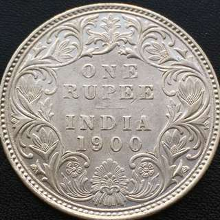 British India Empress Victoria 1900 Silver One Rupee