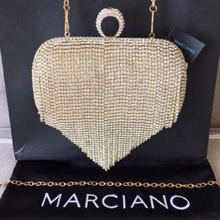 Marciano Crystal Fringe Minaudiere Clutch