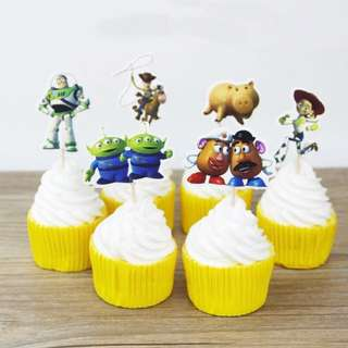 12 pcs Toy Story Cupcake Toppers Cake Topper Muffin Decoration Baking Picks Birthday Party