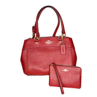 AUTHENTIC COACH CROSSGRAIN SHOULDER BAG AND WRISTLET (RED)