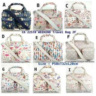 Cath Kidston 2257 - Weekend Travel Bag 2F  Bisa untuk tas travel   Harga IDR 260.000  Bag size: P50xT32xL20cm  Material: Canvas Coated  Quality: Super