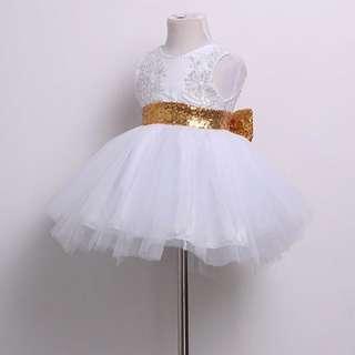 🦁Instock - white sequin dress, baby infant toddler girl children sweet kid happy abcdefg
