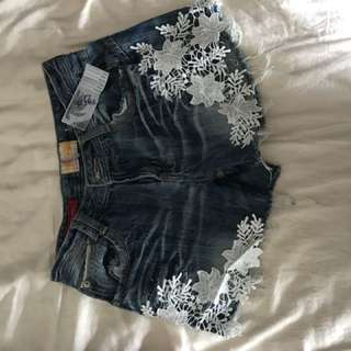 Floral Lace Denim Shorts Size 6