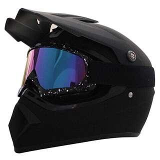 Matte Black Full Face Motorcycle Helmet Scrambler Motorcross Motocross Scrambler Off Road Dirt Bike
