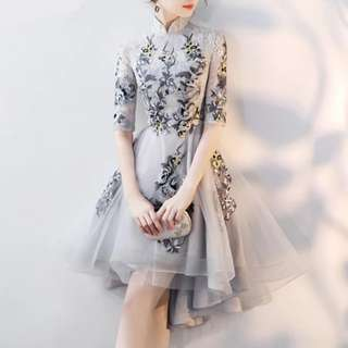 High low floral qipao Cheongsam design grey dress / evening gown