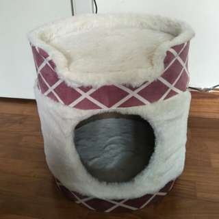 Cat house with scratcher