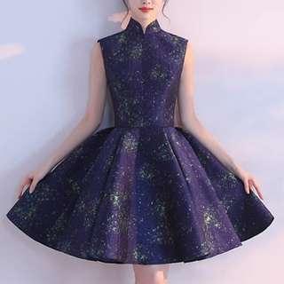 navy stary sky design qipao cheongsam dress / evening gown