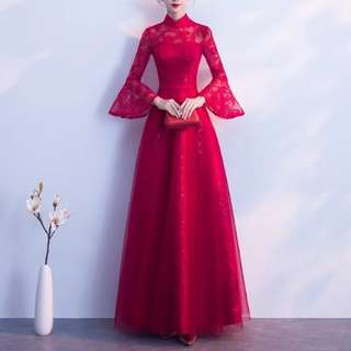 Tumpet sleeve design keyhole back red dress / qipao cheongsam / evening gown