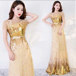 Gold short sleeve dress / evening gown