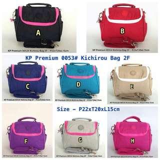 Kipling Premium 0053 - Kichirou Bag 2F   Bisa tenteng dan selempang   Harga IDR 210.000  Bag size: P22xT20xL15cm  Material: Parasut Anti Air  Quality: PREMIUM