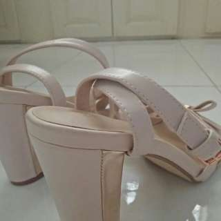 Zalora Sandals block heel nude color