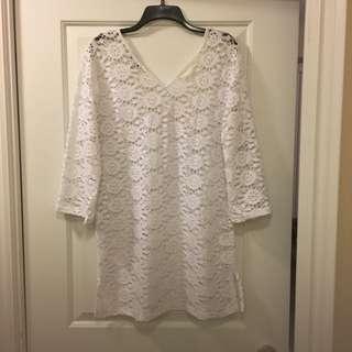 White Lace Bathing Suit Coverup (XL)