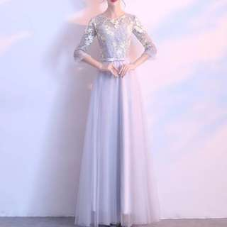 Floral long sleeve grey dress / evening gown