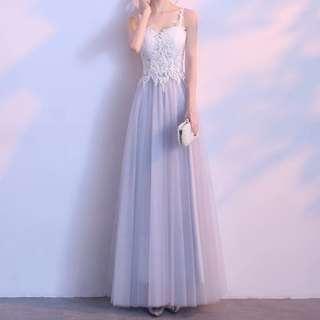 White grey strap design dress / evening gown