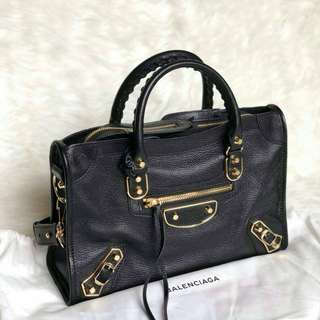 READY BALENCIAGA S Met Edge City in Black Chevre GHW (2) 30cm x 20cm x 10cm
