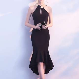 Halter neck black dress / evening gown
