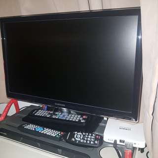 "Samsung 22"" LED TV with stand, remote control"