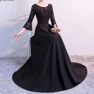 Black long sleeve dress / evening gown