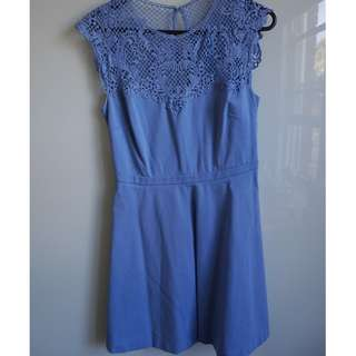 FOREVER NEW pale blue pastel lace fit and flare skater dress AU 10