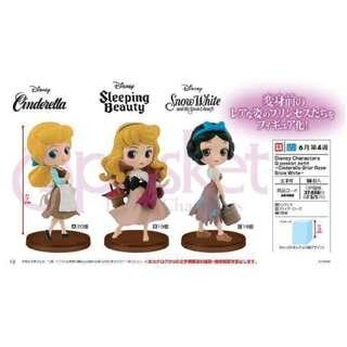 6月預訂!全新未開封 日版 Banpresto Q-posket petit 灰姑娘 Cinderella 睡公主 Sleeping Beauty 白雪公主 Snow White 全3款 迪士尼 Disney 景品
