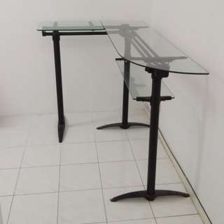 Tempered glass table - L shape
