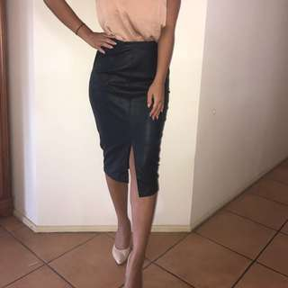 Forever New PU Leather Skirt Size 6 Navy