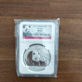2011 China Silver Panda Coin 1oz MS69