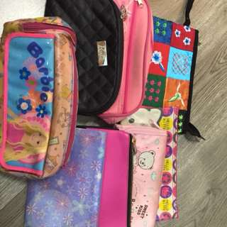Preowned mini pouch/ Barbie and kitty assorted( take it all)