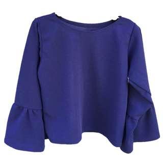 3/4 Ruffled Sleeves Navy shirt