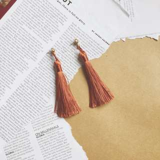 Orange Silk Tassel Earrings