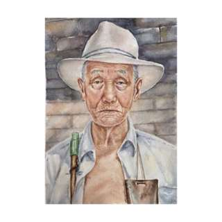 Watercolor painting portrait of an old man