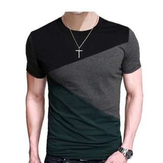 MENS TRI-SECTIONED CASUAL T-SHIRT