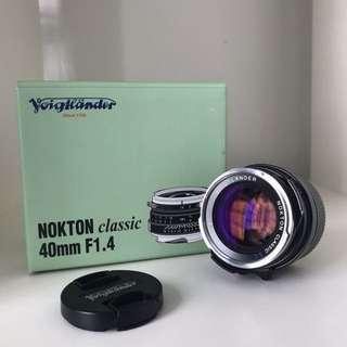 Voigtlander 40mm F1.4 Single Coated (M mount)