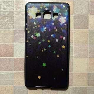 Samsung Galaxy A7 (2015) 手機軟殼 黑底 星星 包四邊