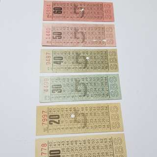 A set of 7 SBS bus tickets