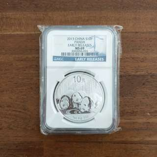 2013 China Silver Panda coin 1oz MS69